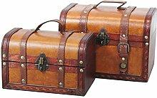 Vintiquewise Dekorative Leder Schatz Boxen, Lite