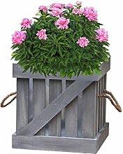 Vintiquewise Distressed Box Blumentopf, Holz, Grau