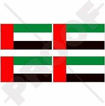 Vinyl-Aufkleber für Stoßstangen oder Helme, Motiv Flagge der Vereinigten Arabischen Emirate / Dubai / Abu Dhabi, 5 x 2,6 cm, 4 Stück