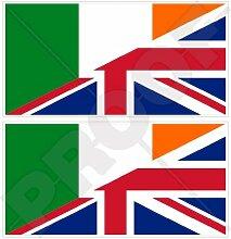 Vinyl-Aufkleber mit Irland-UK-Flagge, 110 mm, 2
