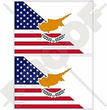 Vinyl-Aufkleber mit USA- und Zyper-Flagge, 100 mm,