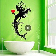 Vinyl Beauty Mermaid Aufkleber Sea Girl Mit Herz