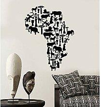 Vinyl wand applique afrikanischen kontinent tier