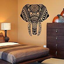 Vinyl Wandtattoo Elefant Afrika Mandala Yoga Zen Meditation Wandaufkleber Wandsticker Wanddekoration Fototapete Dekoration für Kinderzimmer Schlafzimmer Wohnzimmer M129