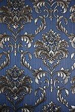 Vinyltapete Tapete Barock Retro # blau/braun/silber # Kingwelson # 362207