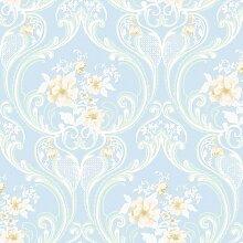 Vinyltapete Tapete Barock Retro # blau/weiß/beige