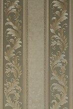 Vinyltapete Tapete Barock Retro glanz # grün/beige/weiß # Kingwelson # 690604