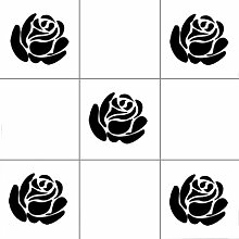 Vinylworld Roses Küche Bad Fliesen-Aufkleber-set, 12 Stück, schwarz, T02