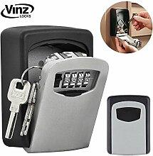Vinz Schlüsseltresor Schlüsselsafe | Schlüsselbox mit Zahlenkombination | Key Lock Box zur Wandmontage | Wasserdicht und Rostfrei | Grau Schwarz