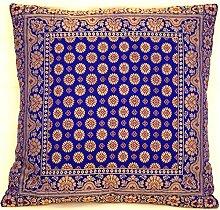 Violet Indische Seide Deko Kissenbezüge 40 cm x 40 cm, Extravaganten Deko Kissenbezüge für Wohnzimmer und Schlafzimmer Dekoration, Kissenhülle aus Indien. Angebot gültig solange der Vorrat reich