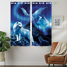 Violetpos 160 x 110 cm Weiß Wolf Drache Blau