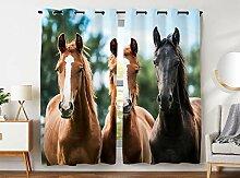 Violetpos 245 x 140 cm 3 Pferde Braun Schwarz