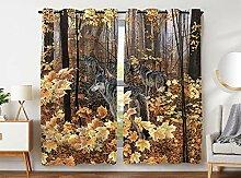 Violetpos 245 x 140 cm Herbst Wald Wölfe Gelber