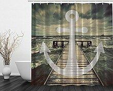 Violetpos Anchor Ocean Waves 3D Duschvorhang Badezimmer Dekorative 90 x 180 cm