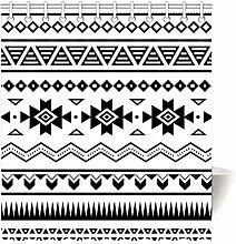 Violetpos Duschvorhang Aztekisch Schwarz Weiß