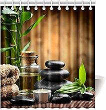 Violetpos Duschvorhang Jahrgang Bambus mit Stein