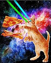 Violetpos Duschvorhang Space Hunger Flying Cat