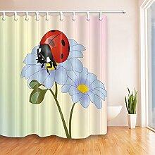 Violetpos Marienkäfer auf den blauen Blumen