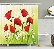 Violetpos Mit Mohnblumen und Gänseblümchen Duschvorhang Badezimmer Dekorative 90 x 180 cm