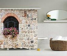 Violetpos Old Stone House und Vintage Treppen Duschvorhang Badezimmer Dekorative 90 x 180 cm