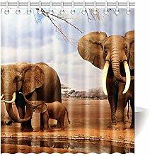 Violetpos Retro Elefanten Afrika Duschvorhang