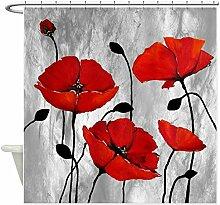 Violetpos Rote Mohnblumen Duschvorhang Badezimmer Dekorative 180 x 180 cm