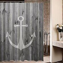 Violetpos Rustikaler grauer Anker Holz Duschvorhang Badezimmer Dekorative 180 x 200 cm
