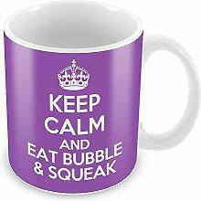 Violett Keep Calm and Eat Bubble & Quietschen Becher Kaffee Tasse Geschenkidee Geschenk