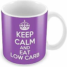 Violett Keep Calm and Eat Low-Carb-Becher Kaffee Tasse Geschenkidee Geschenk