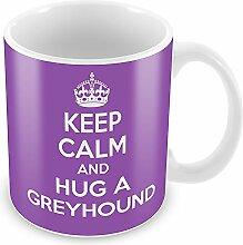Violett Keep Calm and Hug a Greyhound Becher Kaffee Tasse Geschenkidee Geschenk
