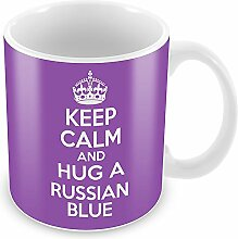 Violett Keep Calm and Hug a Russisch Blau Becher Kaffee Tasse Geschenkidee Geschenk