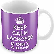 Violett Keep Calm and Lacrosse ist nur ein Spiel Becher Kaffee Tasse Geschenkidee Geschenk S...
