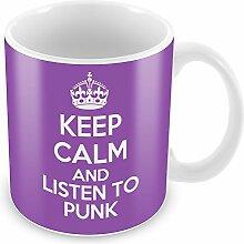 Violett Keep Calm and Listen To Punk Becher Kaffee Tasse Geschenkidee Geschenk