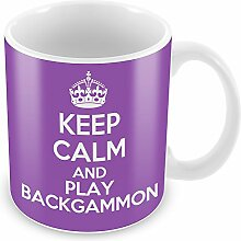 Violett Keep Calm and Play Backgammon Becher Kaffee Tasse Geschenkidee Geschenk