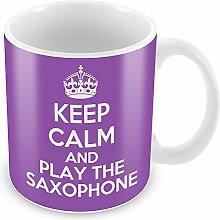 Violett Keep Calm and Play das Saxophon Becher Kaffee Tasse Geschenkidee Geschenk Musik