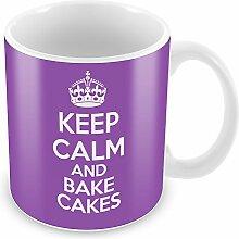 Violett Keep Calm und Backen Kuchen Becher Kaffee Tasse Geschenkidee Geschenk