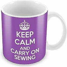 Violett Keep Calm und CARRY ON Nähen Becher Kaffee Tasse Geschenkidee Geschenk