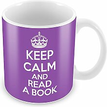 Violett Keep Calm und ein Buch lesen Becher Kaffee Tasse Geschenkidee Geschenk