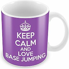 Violett Keep Calm und Love Base Jumping Becher Kaffee Tasse Geschenkidee Geschenk Spor