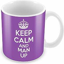 Violett Keep Calm und Man Up Becher Kaffee Tasse Geschenkidee Geschenk