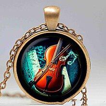 Violinen-Glas-Anhänger, Musik-Halskette, Schmuck