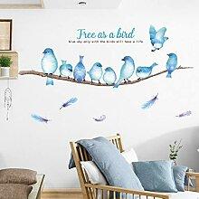 VIOYO Blaue VögelWandaufkleber