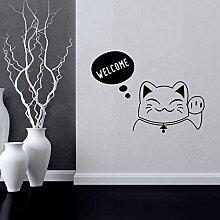 VIOYO Cartoon Lucky Cat Wandaufkleber Vinyl