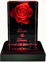 VIP-LASER 3D Glas Kristall Quader XL Rose mit Zwei