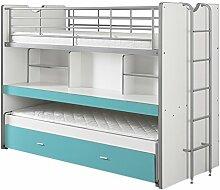 VIPACK BONHS8094 Hoch-/Spiel-/Funktions-/Kinderbett, Holzwerkstoff, farbe 94 weiß / türkis, 222 x 161 x 102 cm