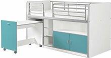 VIPACK BONHS9194 Hoch-/Spiel-/Funktions-/Kinderbett, Holzwerkstoff, farbe 94 weiß / türkis, Single, 207 x 116 x 98 cm
