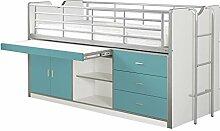 VIPACK BONHS9594 Hoch-/Spiel-/Funktions-/Kinderbett, Holzwerkstoff, farbe 94 weiß / türkis, Single, 222 x 116 x 98 cm