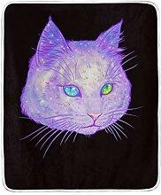 Vipsa Decke lila Katze super weiche Decke warme