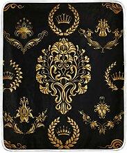Vipsa Decke Schwarz Gold Super weiche Decke Warm