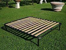 Virgo in Eisen feste Orthopädischer Lattenrost aus reinem Buchenholz mit Gelenken Quietschen Französisches Bett, 140 x 190 cm